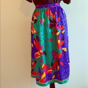 Sue Brett Skirt Size 16 Blue Floral Vintage
